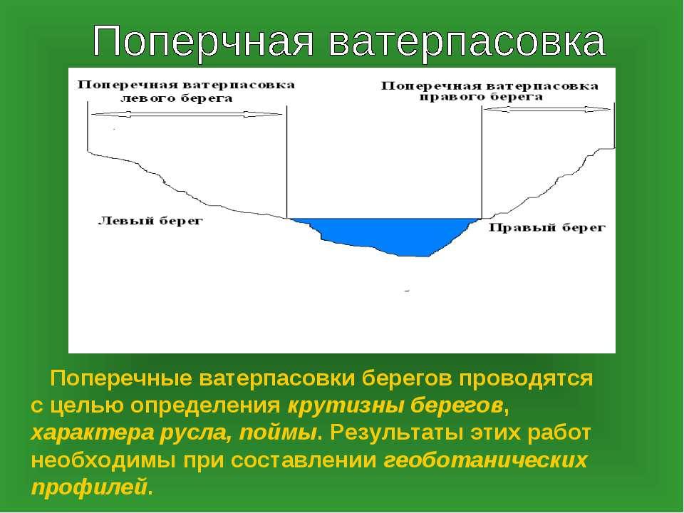 Поперечные ватерпасовки берегов проводятся с целью определения крутизны берег...