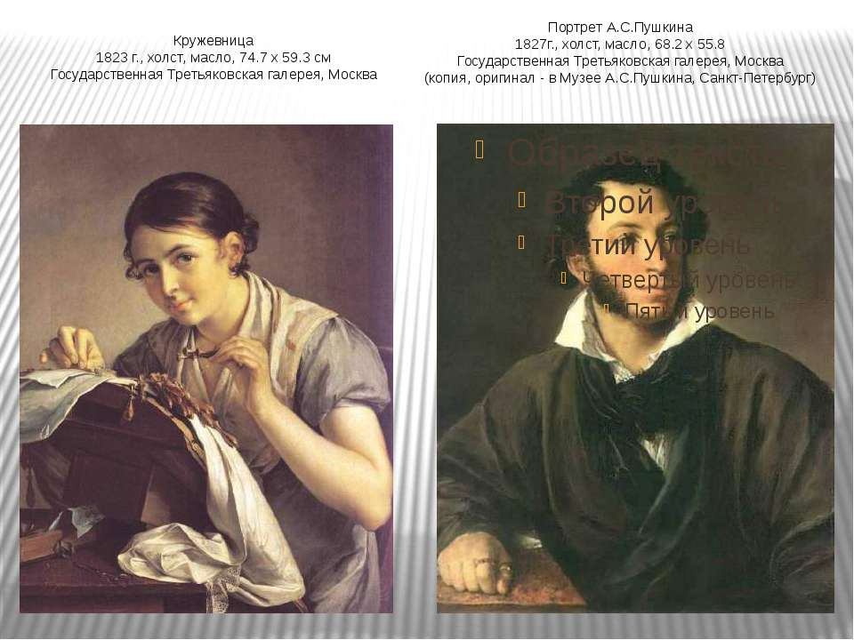 Портрет А.С.Пушкина 1827г., холст, масло, 68.2 х 55.8 Государственная Третьяк...