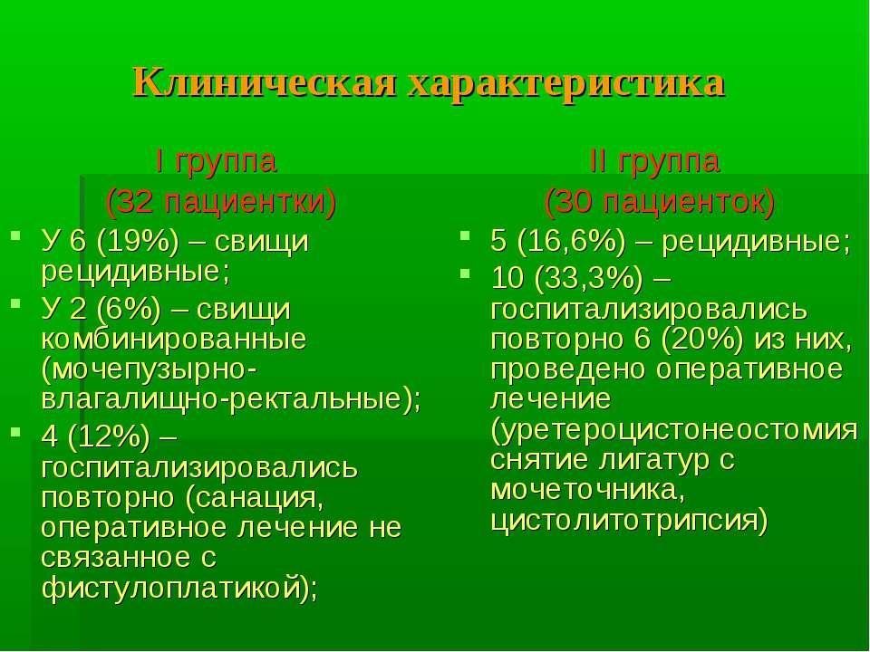 Клиническая характеристика І группа (32 пациентки) У 6 (19%) – свищи рецидивн...