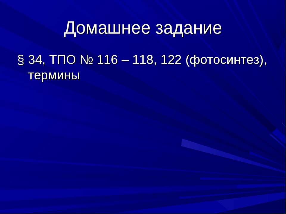 Домашнее задание § 34, ТПО № 116 – 118, 122 (фотосинтез), термины