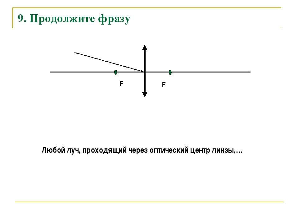 9. Продолжите фразу F F Любой луч, проходящий через оптический центр линзы,…