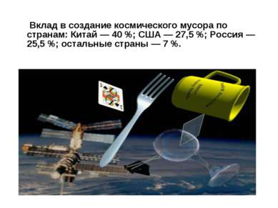 Вклад в создание космического мусора по странам: Китай— 40%; США— 27,5%; ...