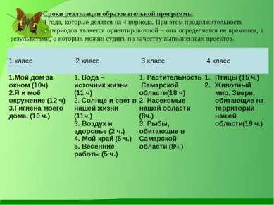 Сроки реализации образовательной программы: 4 года, которые делятся на 4 пери...