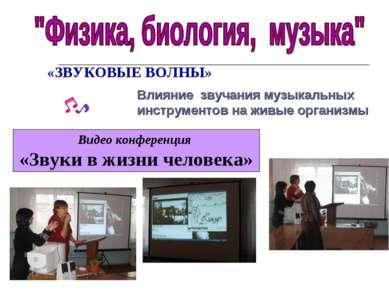Видео конференция «Звуки в жизни человека» «ЗВУКОВЫЕ ВОЛНЫ» Влияние звучания ...