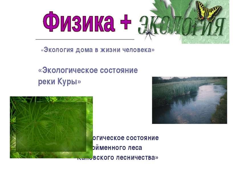 «Экология дома в жизни человека» «Экологическое состояние реки Куры» «Экологи...