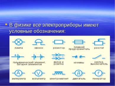 В физике все электроприборы имеют условные обозначения: