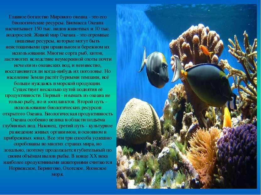 Главное богатство Мирового океана - это его биологические ресурсы. Биомасса О...