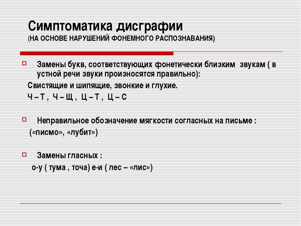 Симптоматика дисграфии (НА ОСНОВЕ НАРУШЕНИЙ ФОНЕМНОГО РАСПОЗНАВАНИЯ) Замены б...