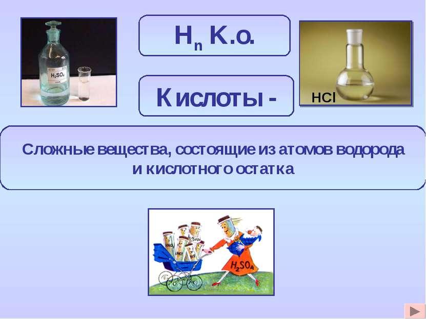 Hn K.o. Сложные вещества, состоящие из атомов водорода и кислотного остатка К...