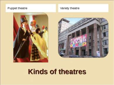 Kinds of theatres Puppet theatre Variety theatre