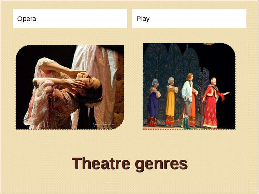 Theatre genres Opera Play