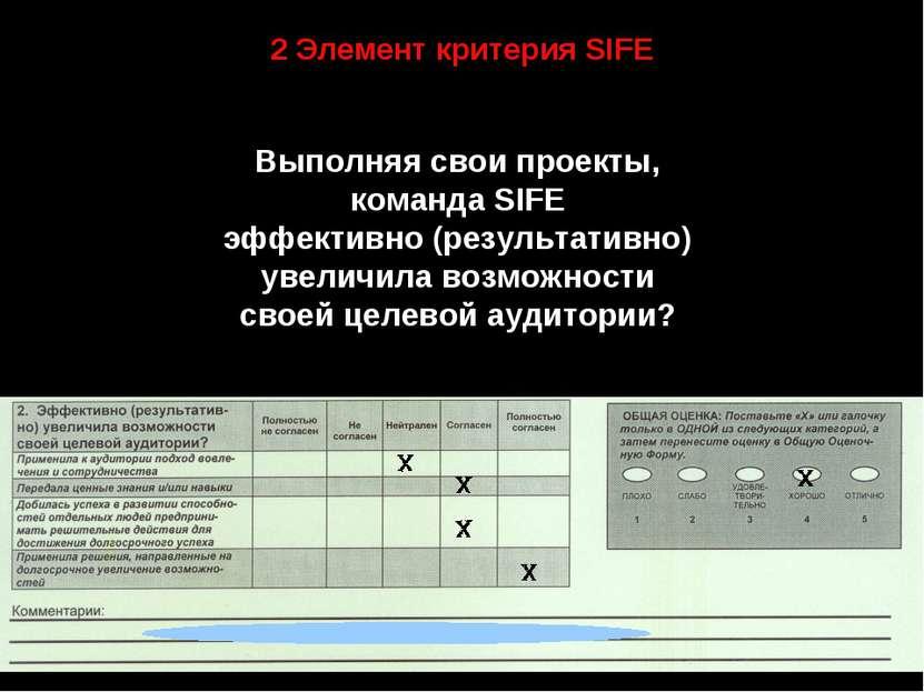 2 Элемент критерия SIFE Выполняя свои проекты, команда SIFE эффективно (резул...
