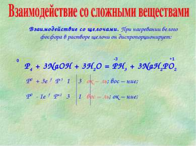 P4 + 3NaOH + 3H2O = PH3 + 3NaH2PO2 Взаимодействие со щелочами. При нагревании...