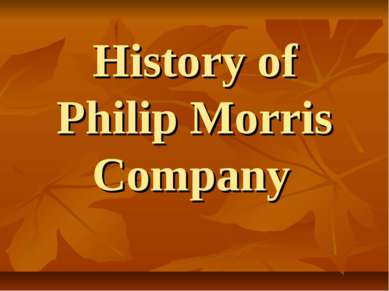 History of Philip Morris Company