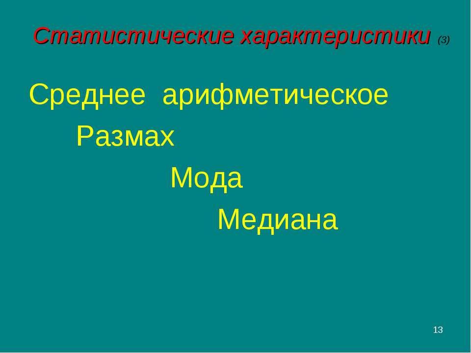 * Статистические характеристики (3) Среднее арифметическое Размах Мода Медиана
