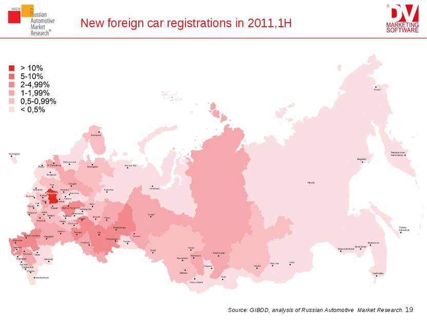 New foreign car registrations in 2011,1H * Source: GIBDD, analysis of Russian...