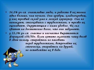 54,2% уч-ся счастливые люди, и радости в их жизни явно больше, чем печали. Он...