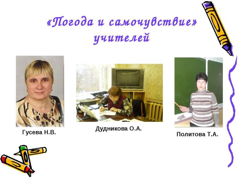 «Погода и самочувствие» учителей Гусева Н.В. Политова Т.А. Дудникова О.А.