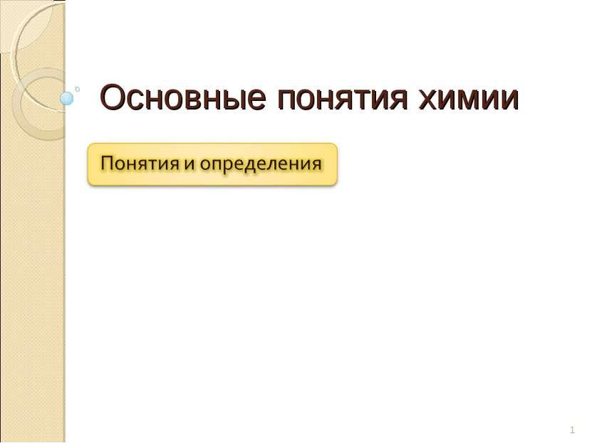 Основные понятия химии * juk121@yandex.ru