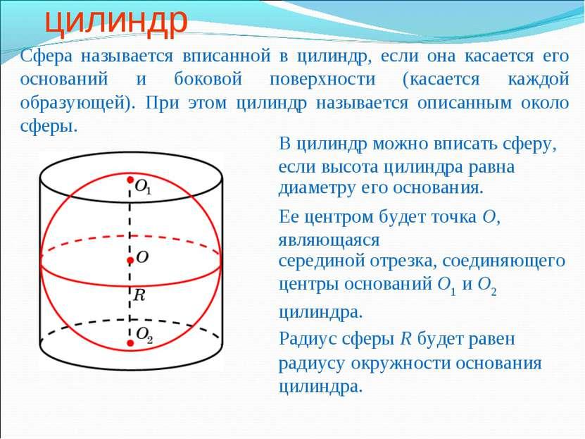Сфера, вписанная в цилиндр Сфера называется вписанной в цилиндр, если она кас...