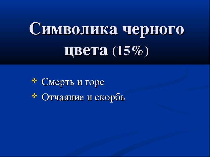 Символика черного цвета (15%) Смерть и горе Отчаяние и скорбь