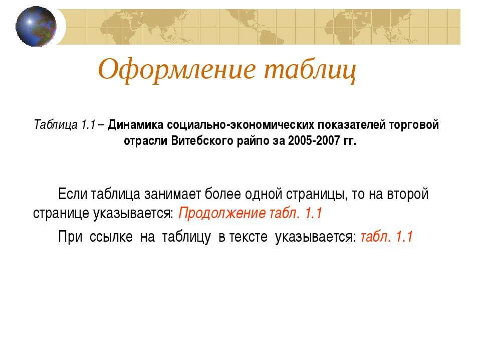 Оформление таблиц Таблица 1.1 – Динамика социально-экономических показателей ...