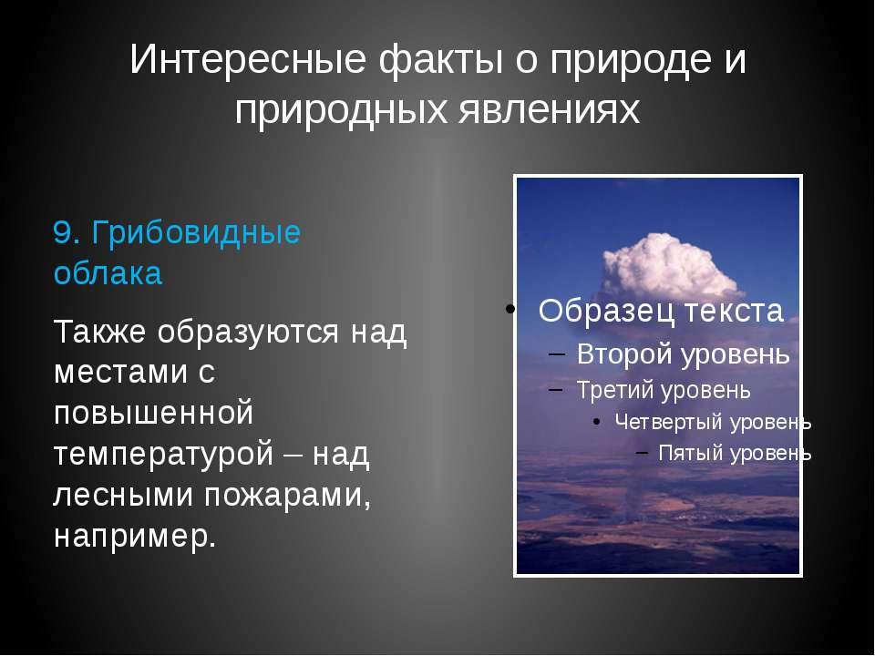 Интересные факты о природе и природных явлениях 9. Грибовидные облака Также о...