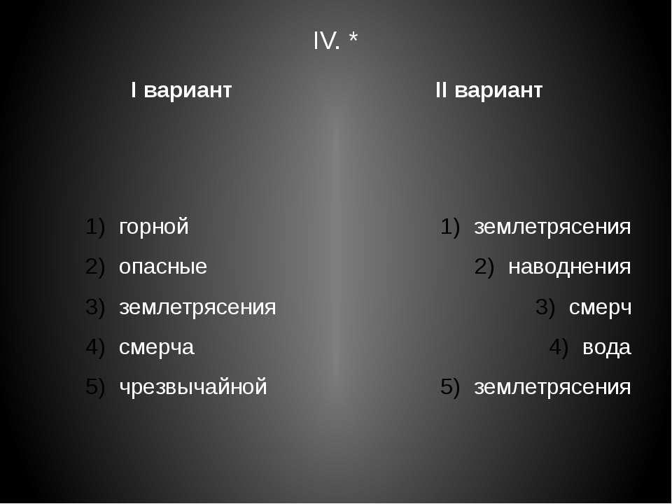 IV. * I вариант горной опасные землетрясения смерча чрезвычайной II вариант з...