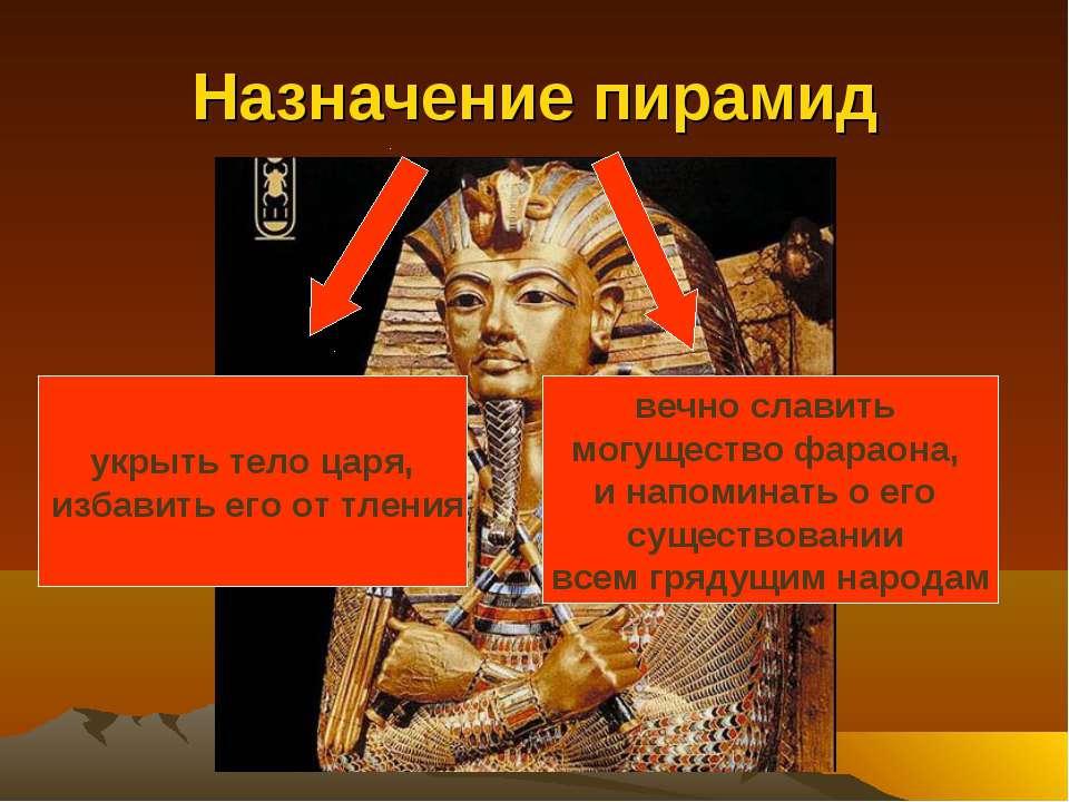 Назначение пирамид укрыть тело царя, избавить его от тления вечно славить мог...