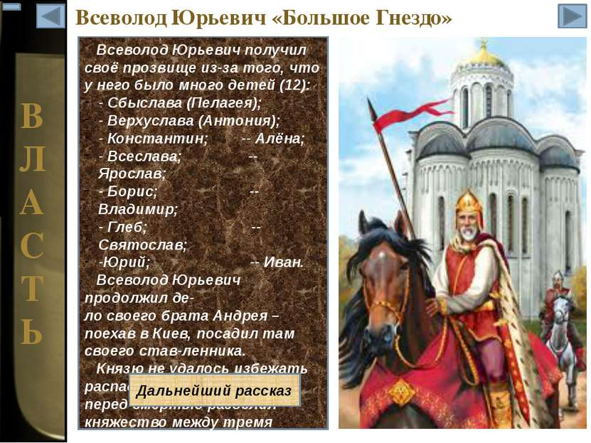 В Л А С Т Ь Всеволод Юрьевич «Большое Гнездо»