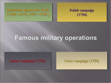 Polish campaign (1794) Operations against the Turks (1768—1774, 1787—1792 ) I...