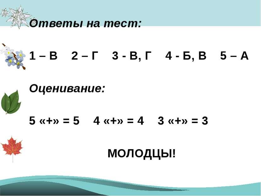 Ответы на тест: 1 – В 2 – Г 3 - В, Г 4 - Б, В 5 – А Оценивание: 5 «+» = 5 4 «...