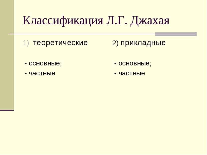 Классификация Л.Г. Джахая теоретические - основные; - частные 2) прикладные -...