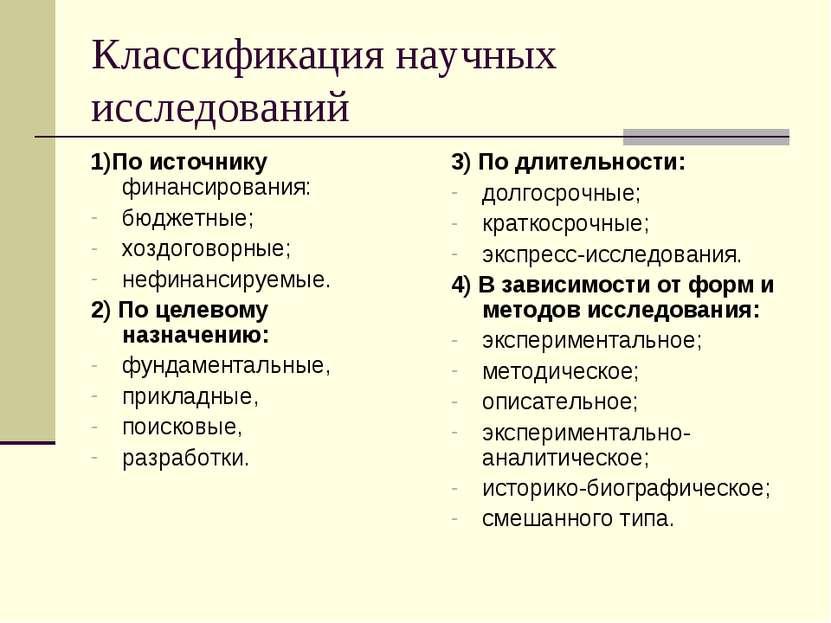 Классификация научных исследований 1)По источнику финансирования: бюджетные; ...