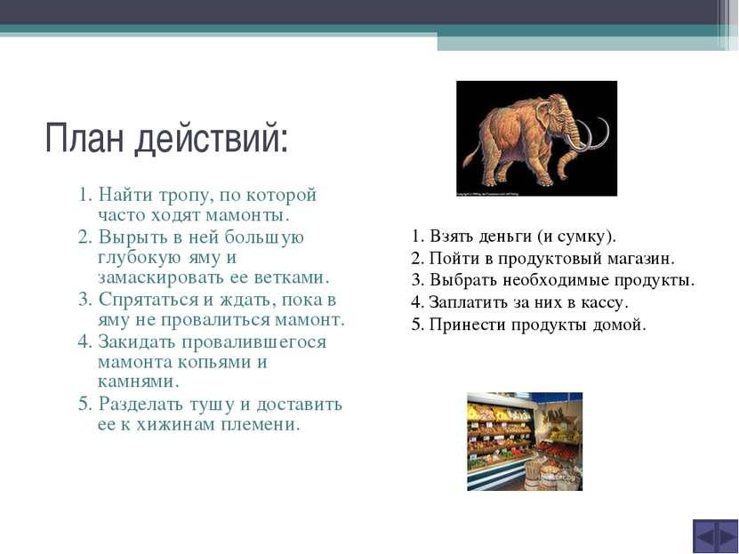 План действий: 1. Найти тропу, по которой часто ходят мамонты. 2. Вырыть в не...