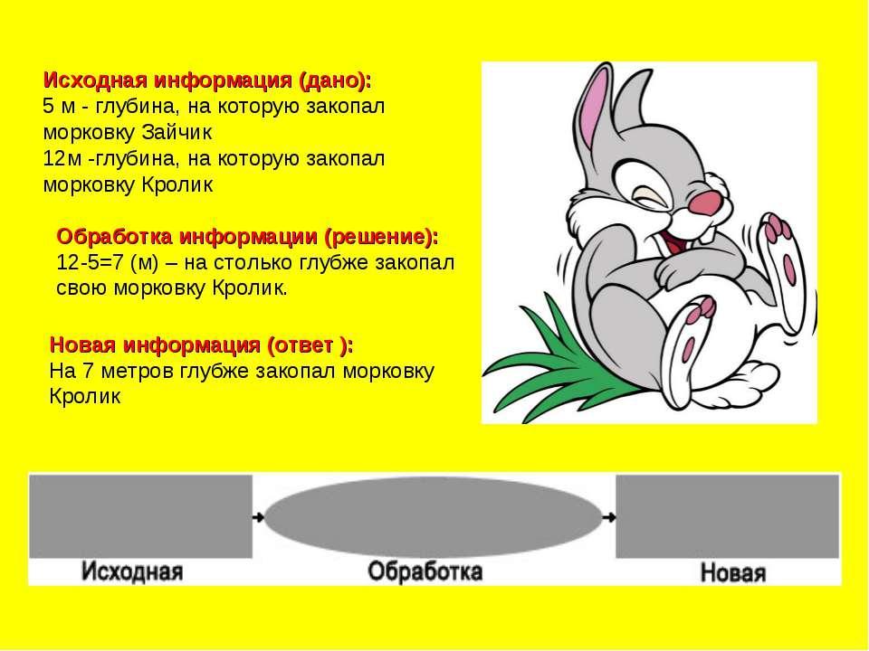 Исходная информация (дано): 5 м - глубина, на которую закопал морковку Зайчик...