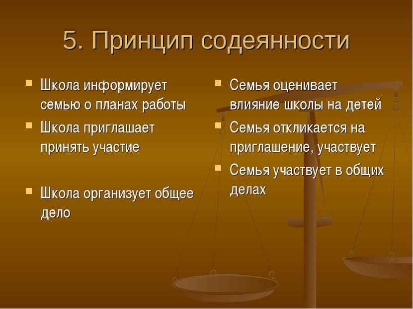 5. Принцип содеянности Школа информирует семью о планах работы Школа приглаша...