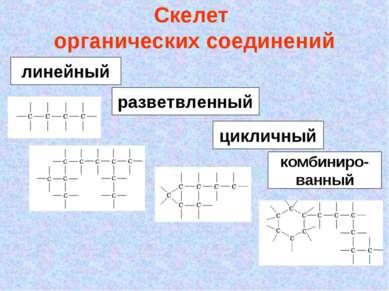 Скелет органических соединений линейный разветвленный цикличный комбиниро- ва...
