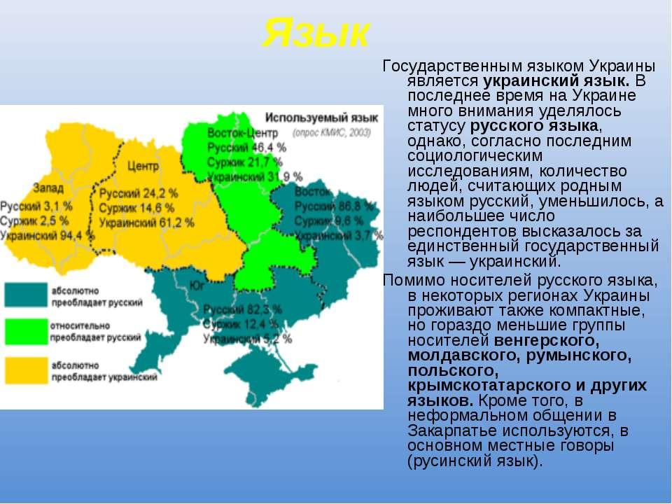 Язык Государственным языком Украины является украинский язык. В последнее вре...