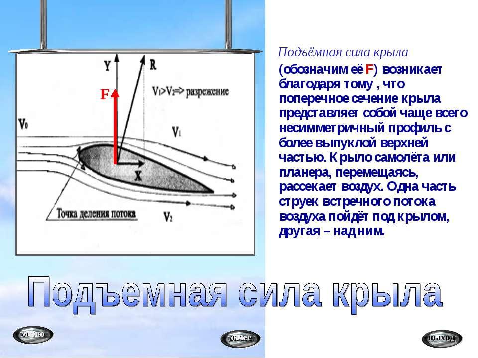 Подъёмная сила крыла (обозначим её F) возникает благодаря тому , что поперечн...