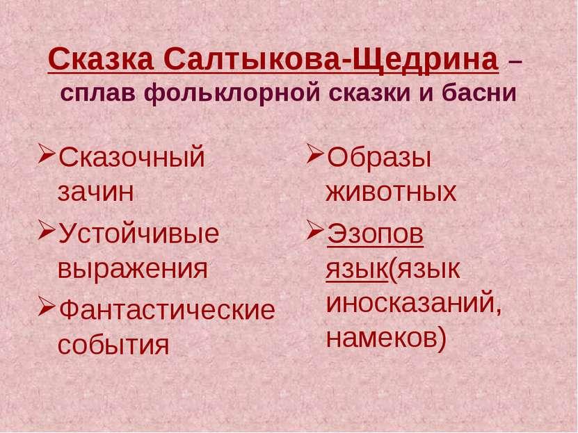 Сказка Салтыкова-Щедрина – сплав фольклорной сказки и басни Сказочный зачин У...