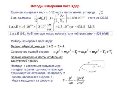Методы измерения масс ядер Единица измерения масс - 1/12 часть массы атома уг...