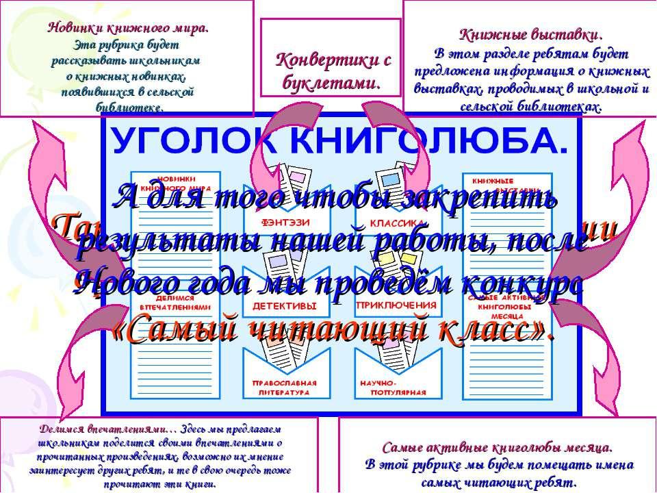 Также на данный период в стадии оформления находится стенд «Уголок книголюба»...