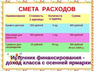 СМЕТА РАСХОДОВ Наименование Стоимость 1 единицы Количество единиц Сумма Бумаг...