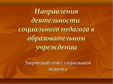 Направления деятельности социального педагога в образовательном учреждении Тв...