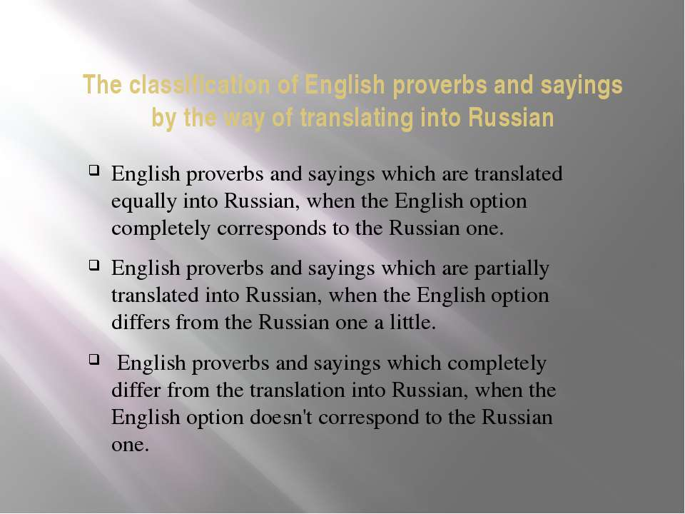 The classification of English proverbs and sayings by the way of translating ...
