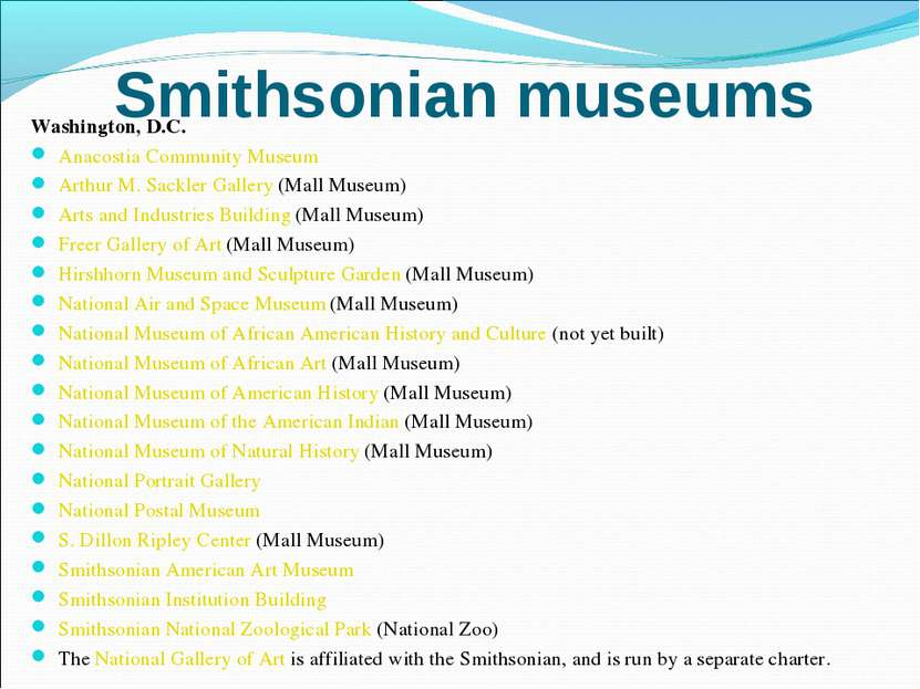 Smithsonian museums Washington, D.C. Anacostia Community Museum Arthur M. Sac...