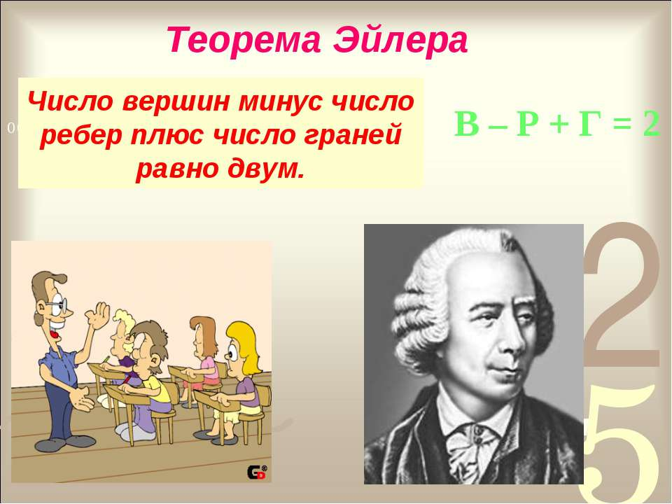 Число вершин минус число ребер плюс число граней равно двум. Теорема Эйлера В...