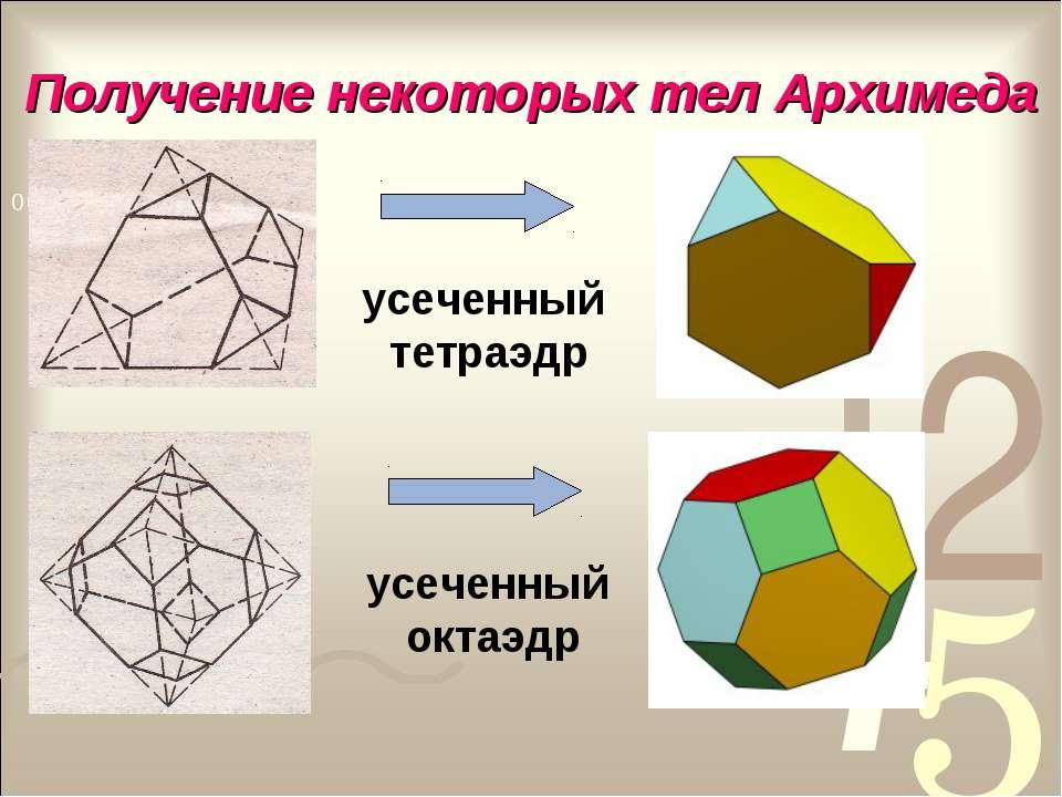 Получение некоторых тел Архимеда усеченный тетраэдр усеченный октаэдр