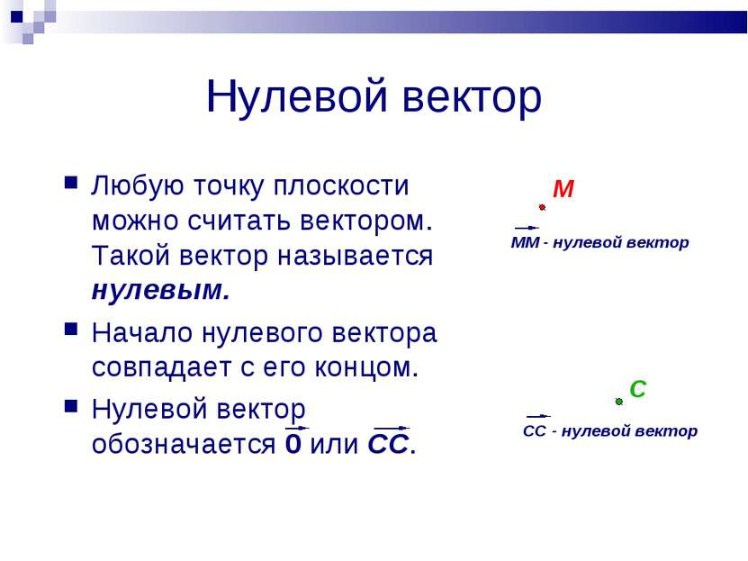 Нулевой вектор Любую точку плоскости можно считать вектором. Такой вектор наз...